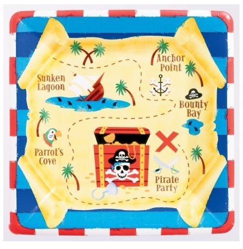 Piraten Dekoideen: eckige Kuchenteller, 8 Pappteller als Schatzkarte, 18cm #Piratenparty Deko
