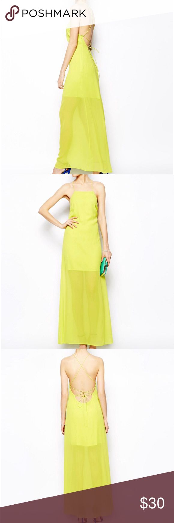 """Strappy neon maxi dress perfect for summer In excellent condition / worn once / maxi dress with underlining / side zipper / adjustable straps/ low cut / true to size / I wear size 10-12 ( seen in 4th pic)  laying flat bust 19"""" waist 22"""" length 60"""" Dresses Maxi"""