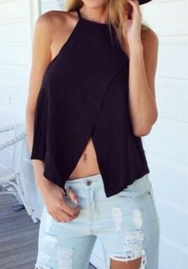 Trendy Top Black Spaghetti Strap Cross Tank Top Color :Black Pattern Type :Plain Neckline :Spaghetti Strap Material :Polyester Style :Honey girl Bust(cm) :S:82c