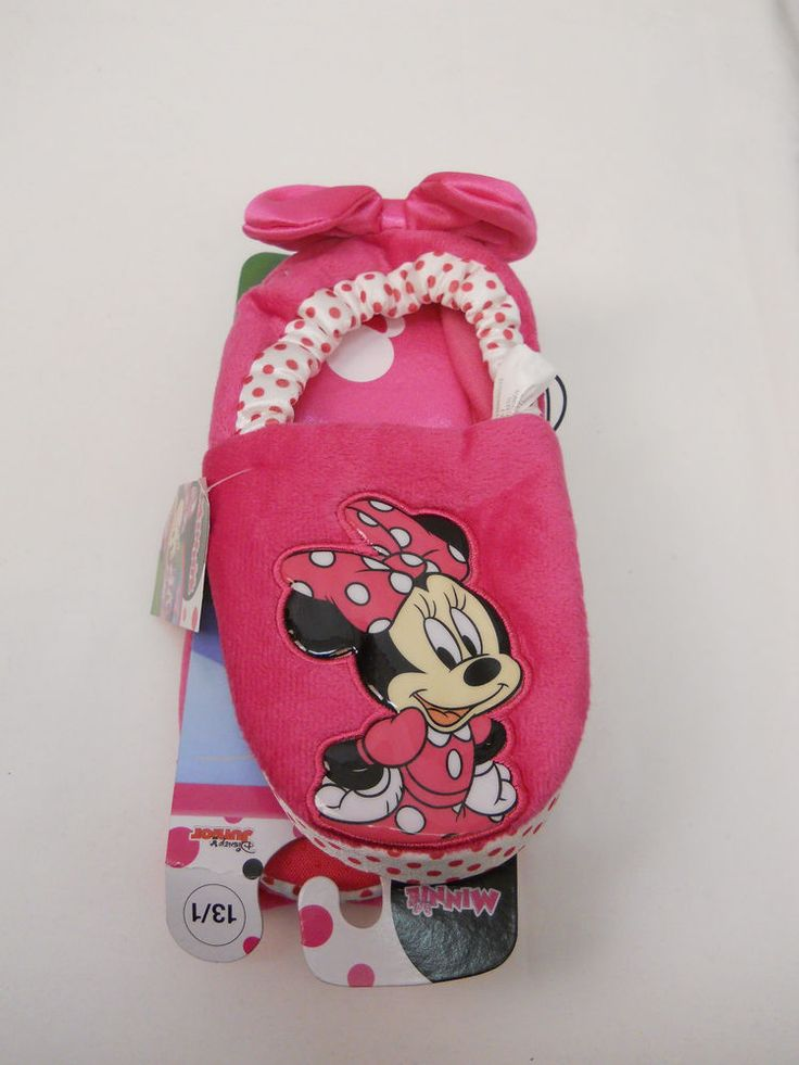 Girls DISNEY Slippers SIZE 13/1 Pink Minnie Mouse Children House Shoes Slip On #Disney #Slippers #EVERYDAY