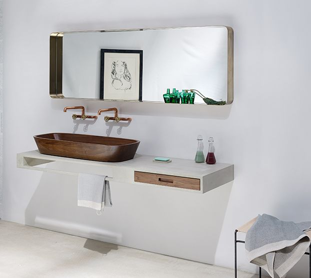SHELL Basin | Nina Mair | Architecture | Design | Austria | Genuine Hand-Polished Walnut | Carved from a Solid Block | Refined Final Form | Walnut Drawer and Towel Rail Integrated into Minimalist Concrete Wash Table | Individual Washbasin Dimensions: WxLxH = 35x50x14 cm | Double Washbasin Dimensions: WxLxH = 40x100x14 cm |  Wash Table Dimensions: WxLxH = 50x180x12 cm |
