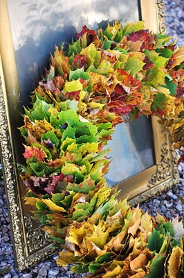 Wreaths & Garlands - When leaves are dried you can add cones, spray glitter etc