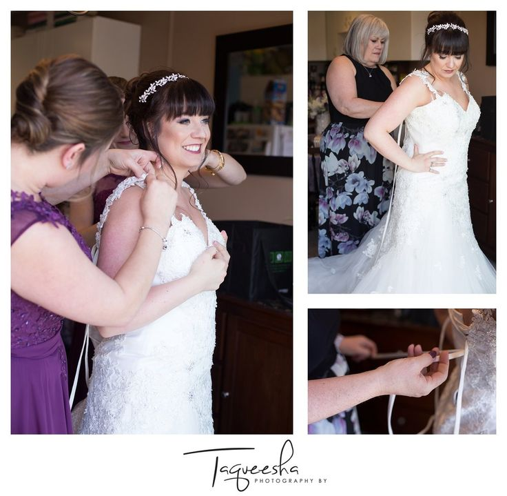 Kamloops wedding photographer, Photography by Taqueesha.  Bridal portraits, bride getting ready photos, putting the dress on.