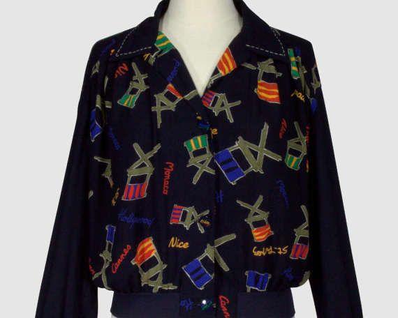 Carole Little Vintage 1990s Cropped Bomber Jacket Coat Navy