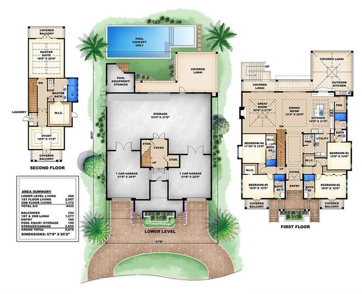 layout for key west house wtwo basement level garages