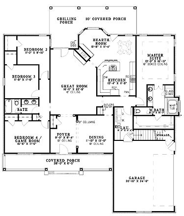 Four Bedroom Country (HWBDO61981)   Country House Plan from BuilderHousePlans.com