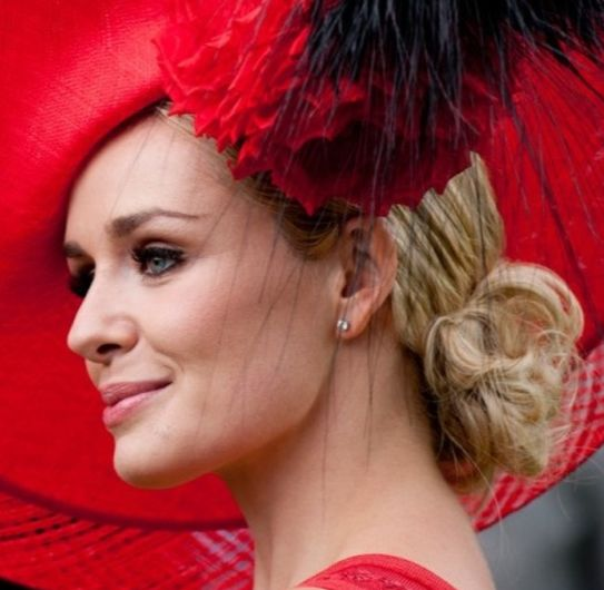 Katherine Jenkins, Races Day Hair. Low Bun. Blonde Hairstyle. Horse Races Hair. Ladies Day. Ascot Aintree.
