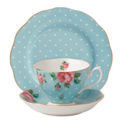 Royal Albert New Country Roses Polka Blue Teacup Set