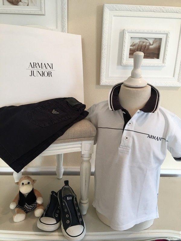 Mein Orig. Armani Junior Poloshirt Gr.4 Jahre / 104 cm von ARMANI! Größe 104 für 25,00 €. Schau´s dir an: http://www.mamikreisel.de/kleidung-fur-jungs/poloshirts/37959965-orig-armani-junior-poloshirt-gr4-jahre-104-cm.