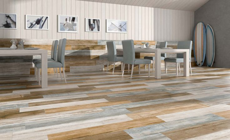 Mixed wood-look tiles. The great thing about all the different styles and colors is that you can mix and match them in unique ways that would be next to impossible with reclaimed wood. By Keraben: Ceramic for refurbishment, kitchens and bathrooms.