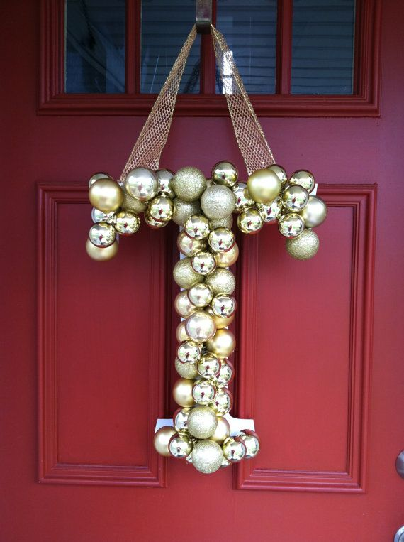 """18"""" Monogrammed door hanging , door decor, Christmas decor , door wreath, door hanging,nursery decor. $46.00, via Etsy."""