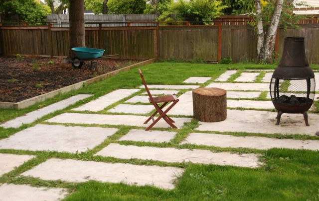 This would be a great way to extend our patio...assuming the lawn was level. Which it is SO not:-I