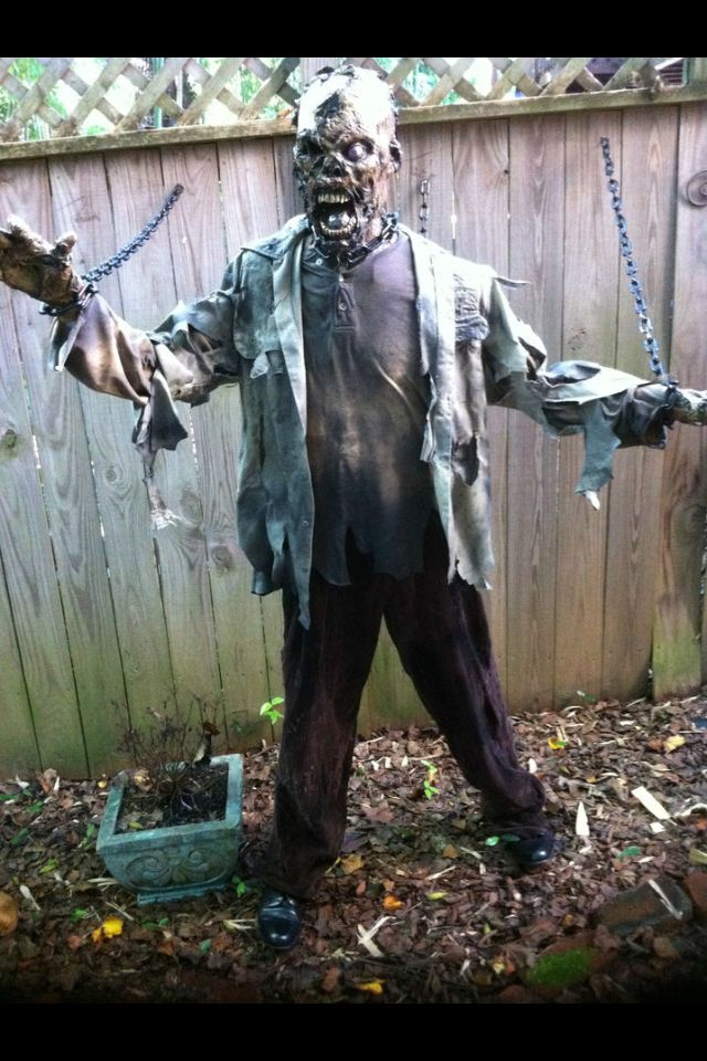 PLACE ON OUTSIDE OF FENCE ROAD SIDE-New chained Zombie prop