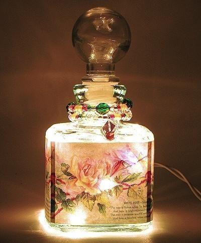 Rose Whisper Perfume Bottle Nightlight ( Night Light ) - Roses And Teacups