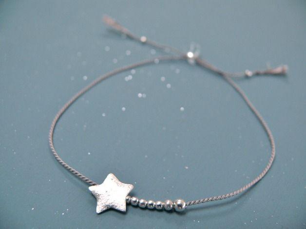 Bracelet soie et argent - étoile filante