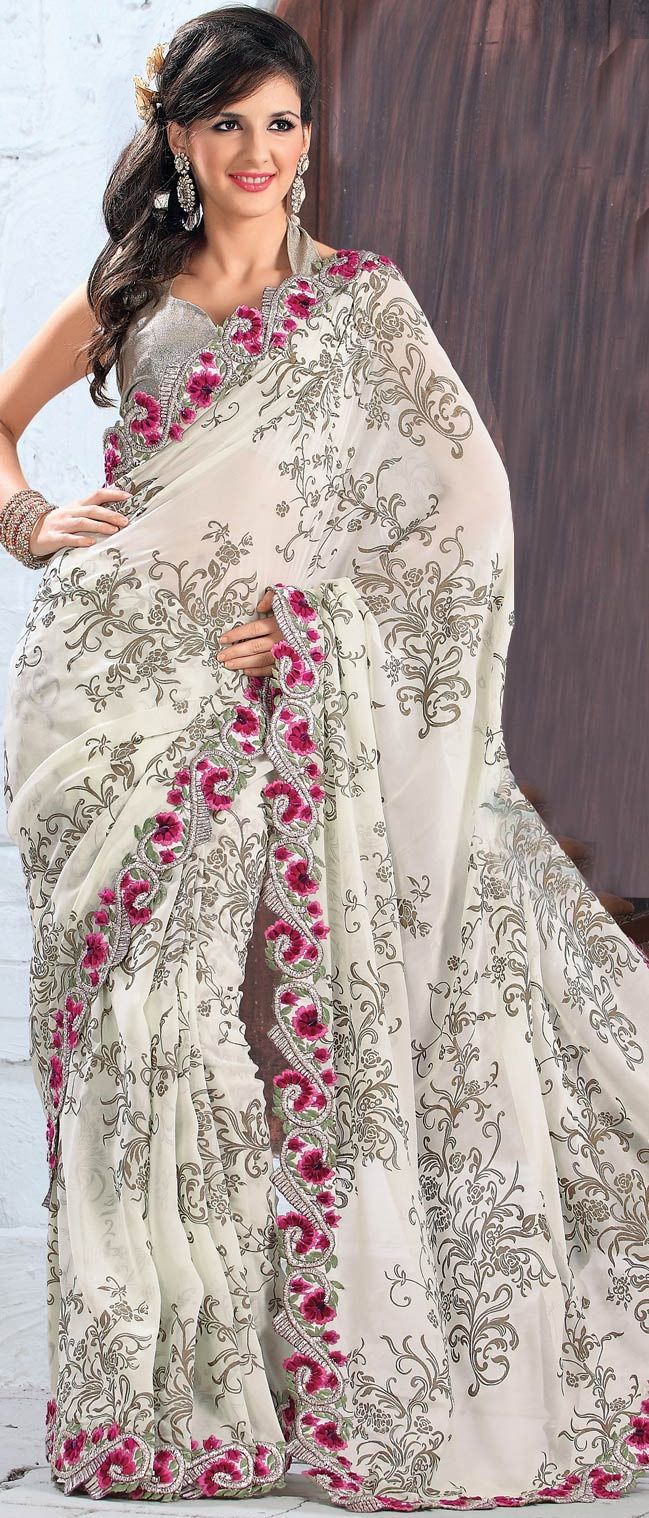 #Cream Faux #Georgette #Saree with Blouse @ $ 75.35