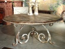 Round Oak Dining Table from France with Antique Iron Base and Antique Reclaimed Wood Top