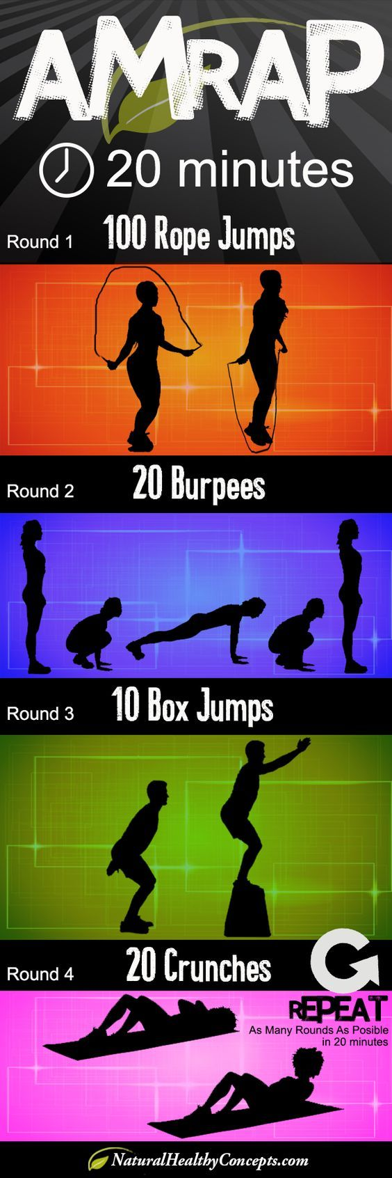 AMRAP- dont have a box to do box jumps on... substitute squat jumps instead... sounds good to me,