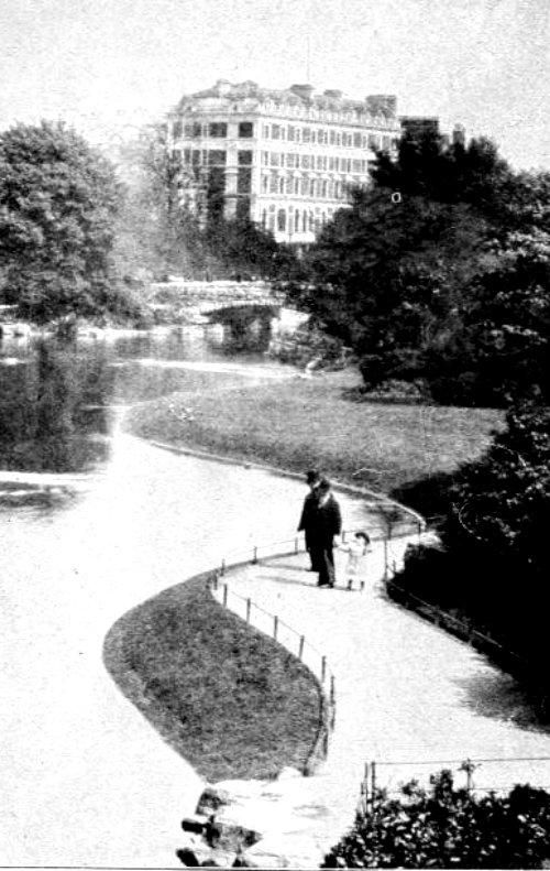 Old photo of St. Stephen's Green and the Shelbourne Hotel #Dublin #Ireland