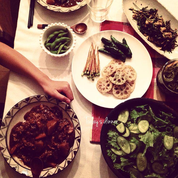 ポークカリー*野菜のソテー*人参葉とツナの卵炒め*サラダ*ゴーヤのピクルス