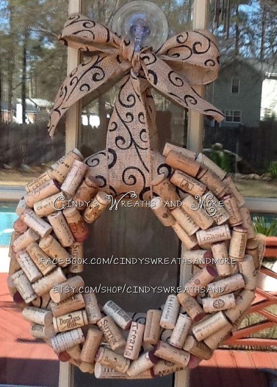 Recycled Wine Cork Wreath, Cork Wreath, Wreath, Burlap Ribbon and Bow, Wedding Wreath, home decor