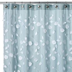 Floret Blue 70 W x 72 L Fabric Shower Curtain  Bed Bath Beyond 52 best Bathroom images on Pinterest ideas