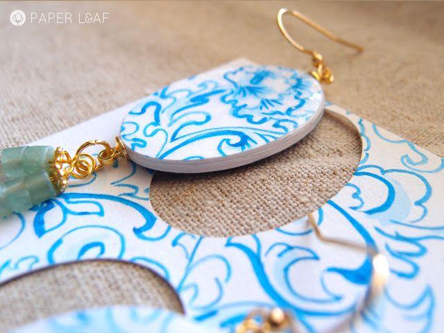 Porcelain Tuo | handpainted paper earrings | orecchini di carta dipinti a mano | Paper Leaf