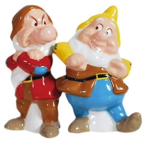 Westland Giftware Magnetic Ceramic Disney Snow White Grumpy And Happy Salt  And Pepper Shaker Set,