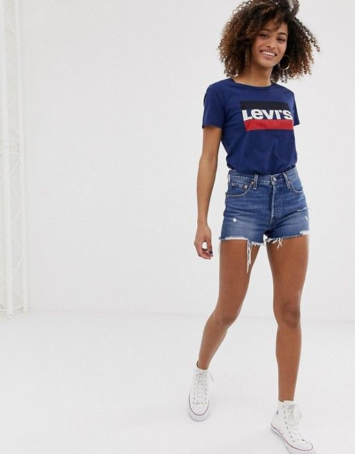 121acb41 Levi's 501 high rise short with raw hem and rips in 2019 | Style ...