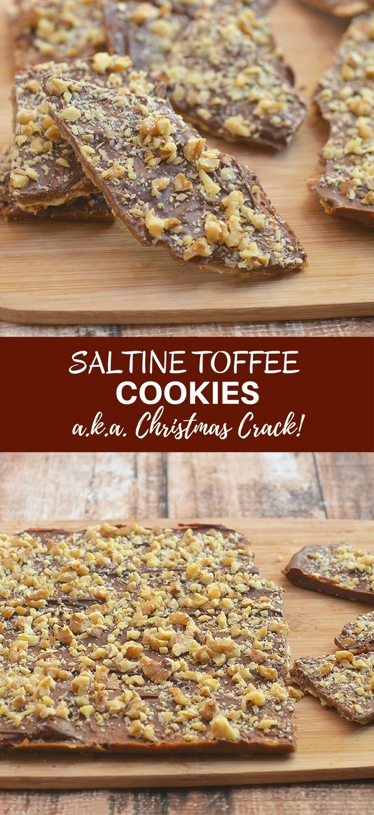 Saltine Toffee Cookies are crunchy, buttery and absolutely addicting. A delicious combination of sweet and salty, they're also called Christmas Crack for good reason!  via @lalainespins