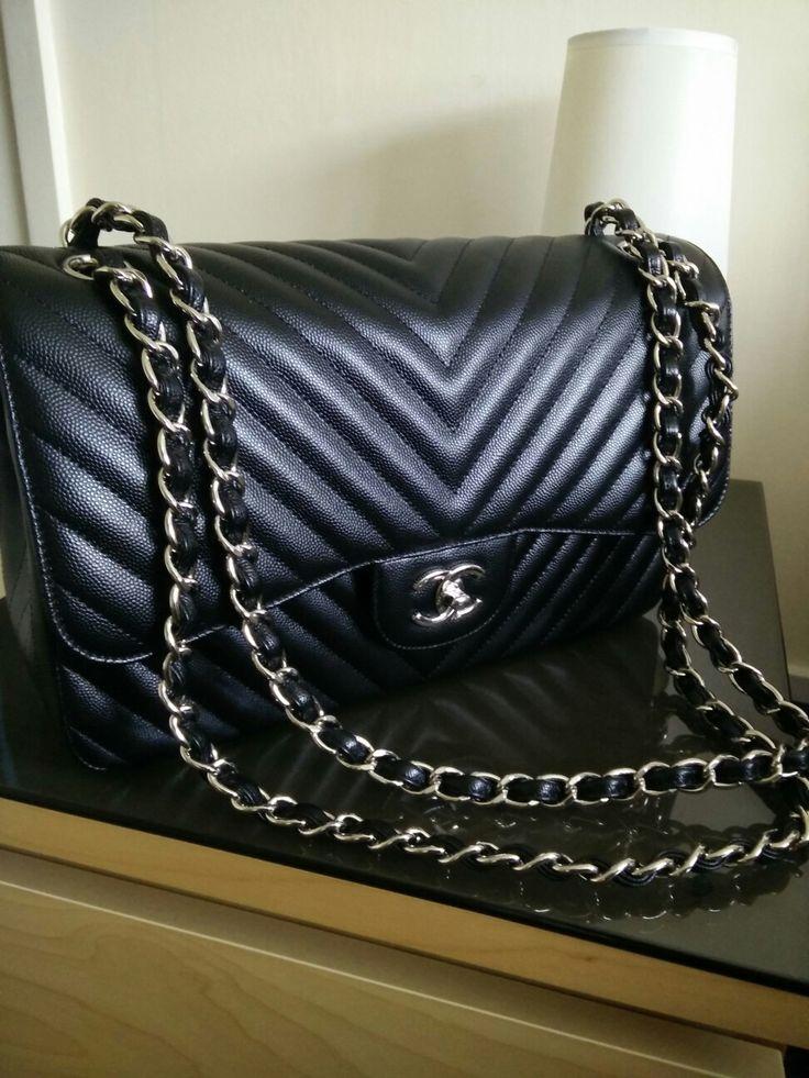 Chanel chevron caviar leather silver hardware