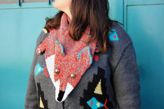 vibrant red/ grey FOX scarf hand knitted warm by giantscanfly