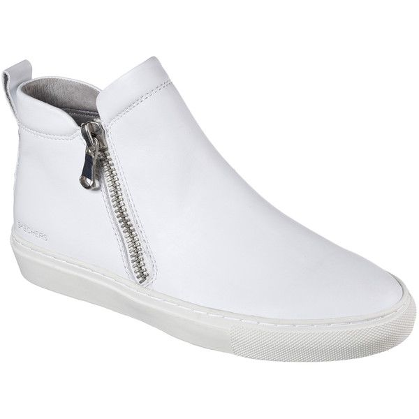 Skechers Women's Vaso - Bota White - Skechers ($65) ❤ liked on Polyvore featuring shoes, boots, ankle booties, white, white boots, short boots, double zipper boots, skechers boots and zipper ankle boots