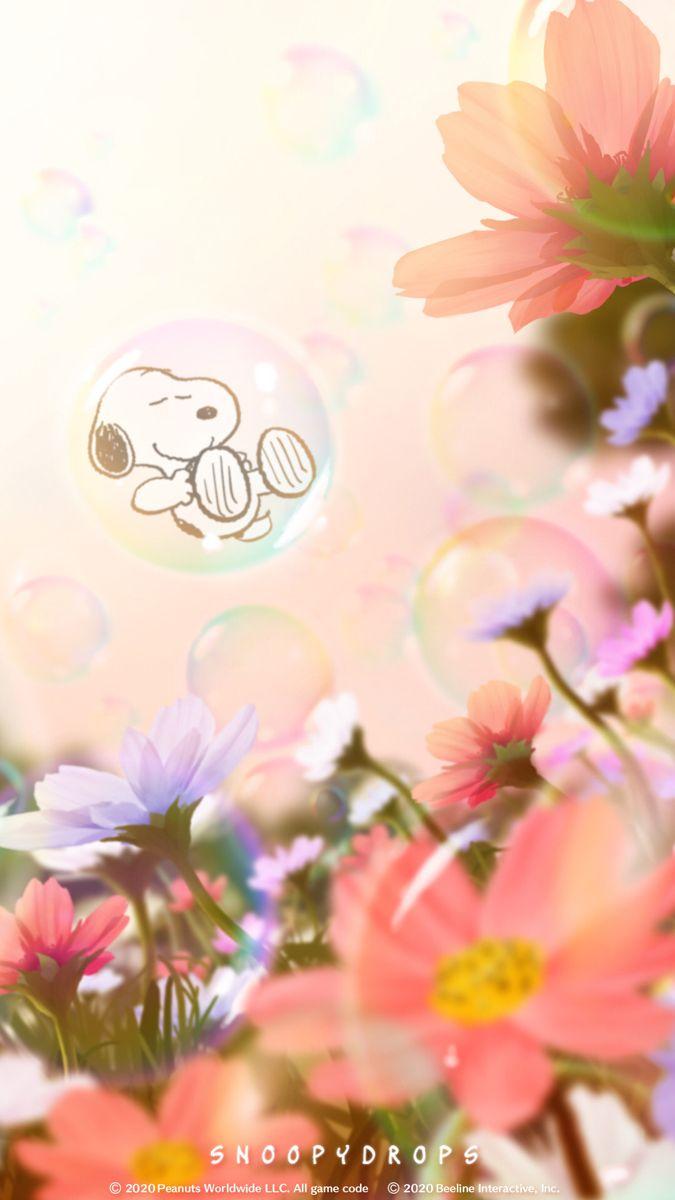 Snoopy お花とシャボン玉 スヌーピーの壁紙 秋 壁紙 花 待ち受け