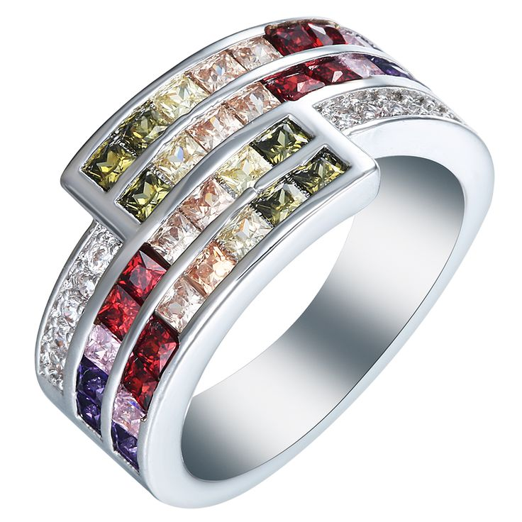 silver plated rings us 7 8 9 New vintage colorful purple green red pink champagne cz Jewelry Wedding gift luxury promise rings