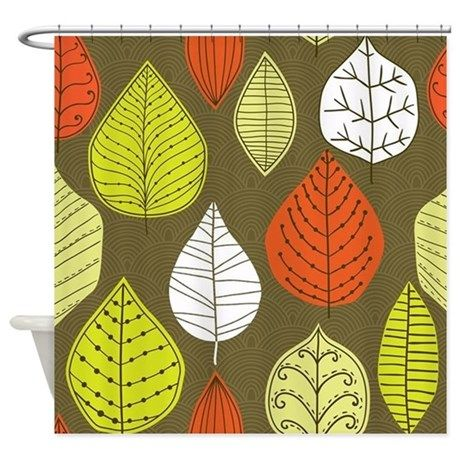 Leaves on Green Mid Century Modern Shower Curtain