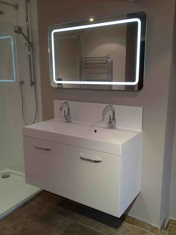 LED Bathroom Mirror Over Wall Hung Vanity Unit For A Leeds Installation Project By UK Guru
