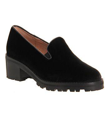 Jeffrey Campbell Dunham Heel Loafer Black Velvet - Mid Heels