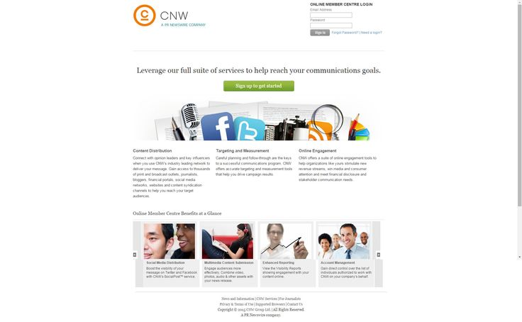 The login page of CNW's new Online Member Centre
