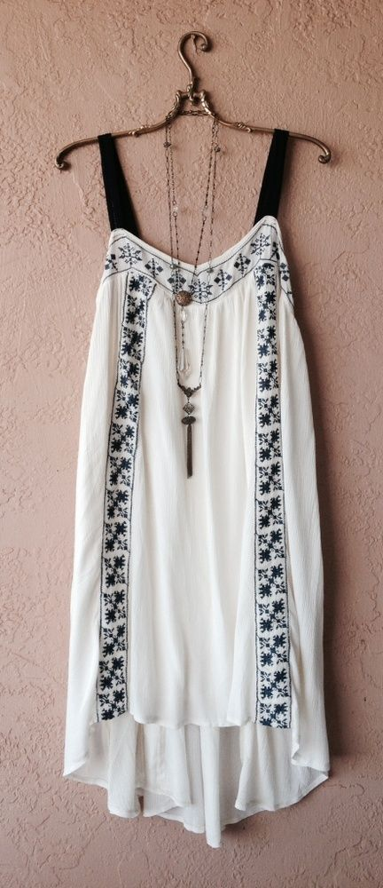 ANTHROPOLOGIE RESORT BEACH GAUZE GYPSY EMBROIDERED PEASANT DRESS WITH SCARF HEM