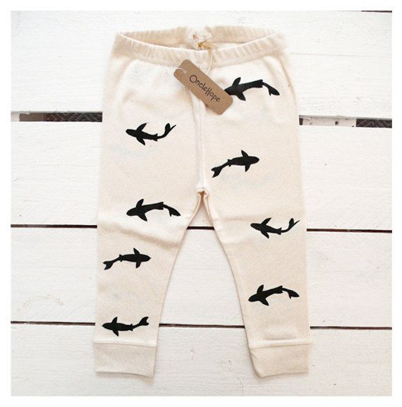 Sharks  handprinted organic baby leggings by OncleHope on Etsy