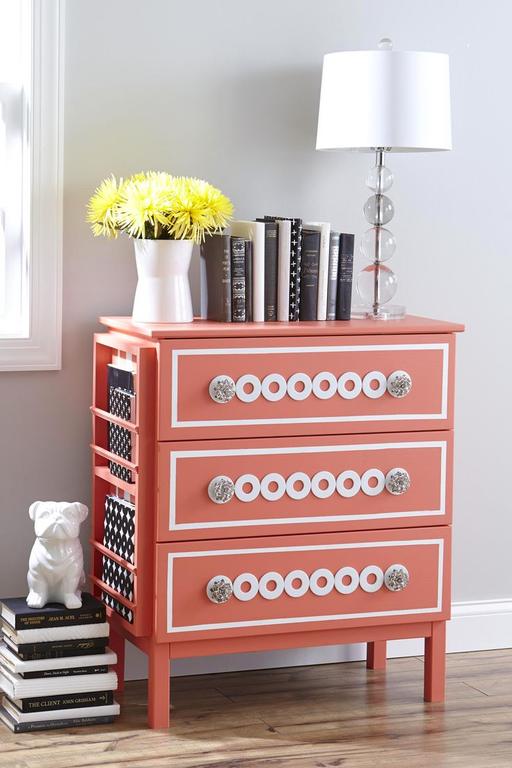Love this IKEA hack!  Add a bookcase on the side and transform the front with paint (SW Ardent Coral) and washers from the home improvement store.  www.thistlewoodfarms.com