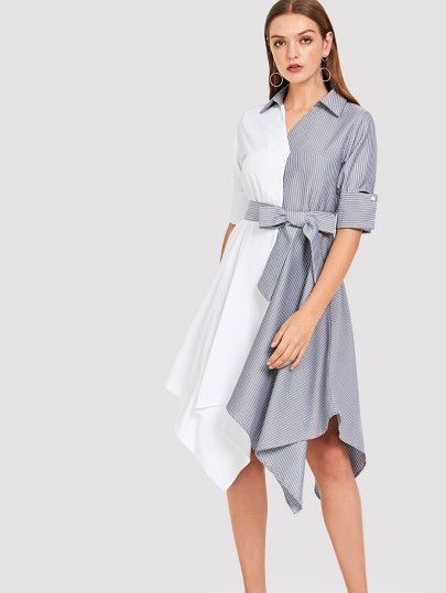 1f8fa5a80c2 Shop Asymmetrical Hem Contrast Striped Dress online. SheIn offers Asymmetrical  Hem Contrast Striped Dress   more to fit your fashionable needs.
