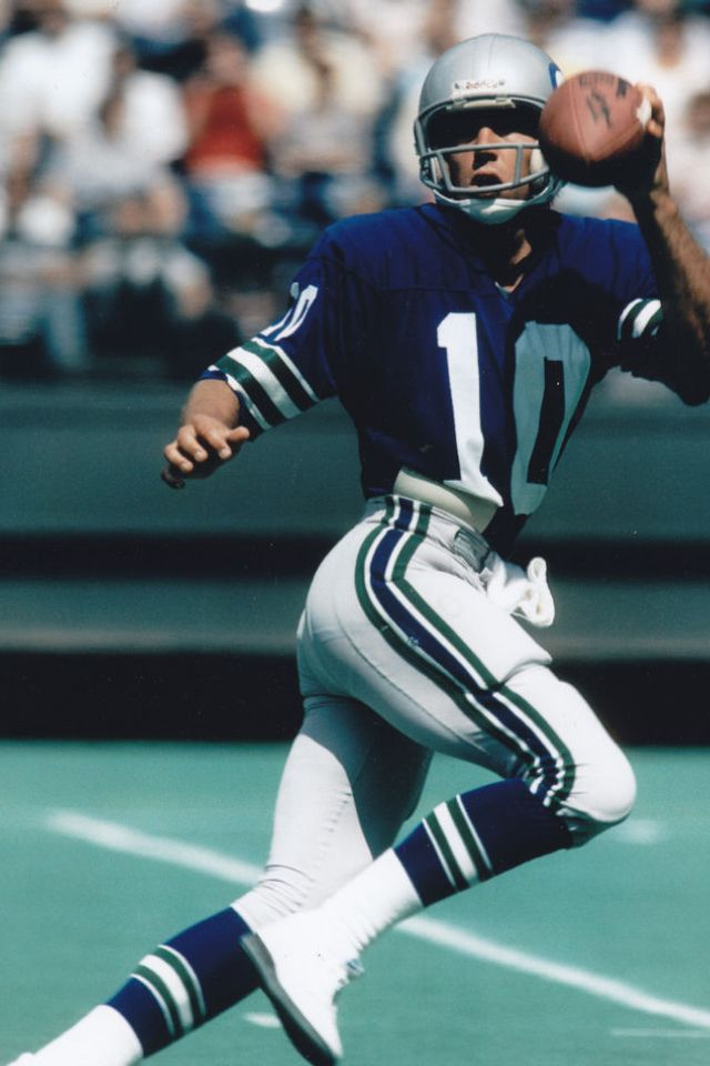 A familiar sight from the Seahawks' early years - Jim Zorn running for his life (and probably hitting Steve Largent for a TD)!