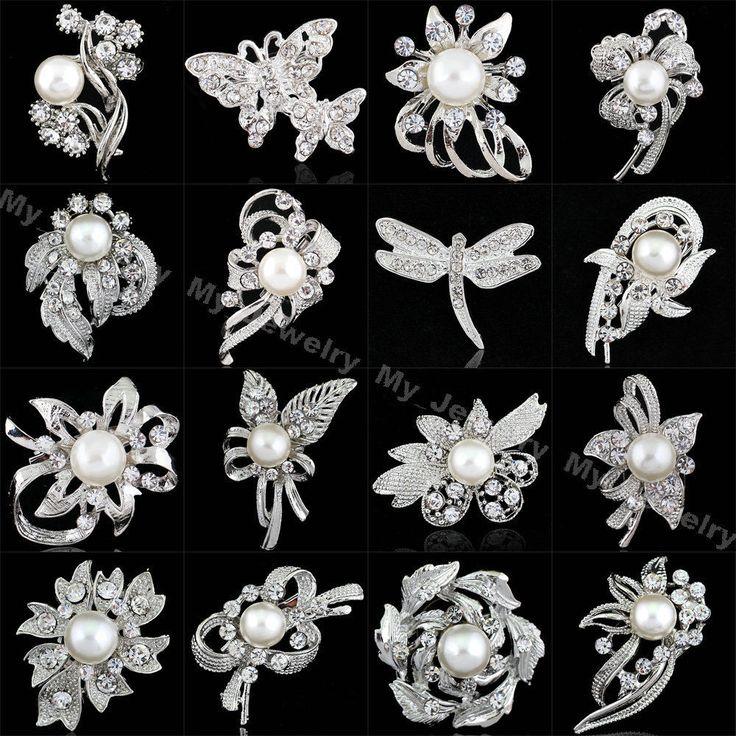 Wedding Bridal Banquet Brooch Pin Gifts Silver Tone Crystal Pearl Flower Animal