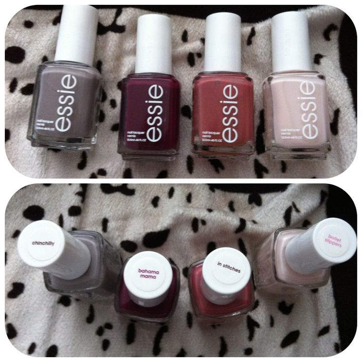 Perfect fall nail colors. Essie chinchilly, Bahama mama, in stitches and ballet slippers