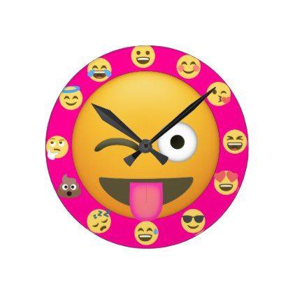 Pink Cool Cute Emoji Face Childrens Clock Fun - diy cyo personalize special unique