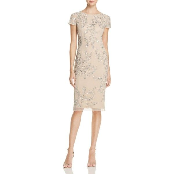 Adrianna Papell Embellished Dress ($265) ❤ liked on Polyvore featuring dresses, beaded cocktail dresses, beaded evening dress, holiday cocktail dresses, cocktail dresses and pink evening dress
