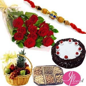 Red Rose, Fruits, Dry Fruits & Cake
