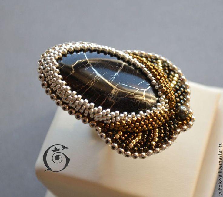 Купить Magia Sacra - кольцо - золотой, серебряный, бронзовый, симбирцит, окаменелое дерево, пирит, кольцо